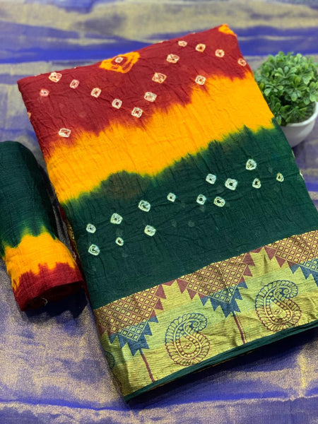 Pure Bandhej SAREE(Green_Red)