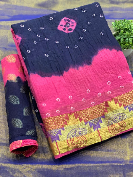 Pure Bandhej SAREE(LightPink_DarkBlue)