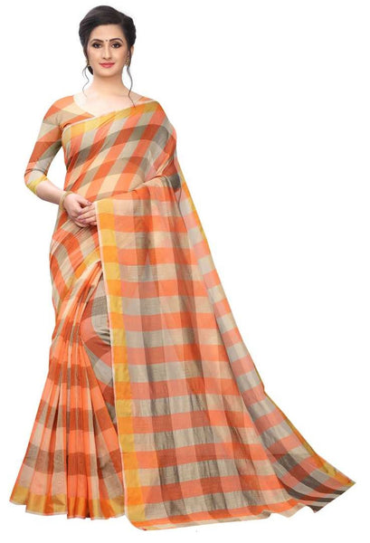 COTTON SAREE with Blouse Piece(Orange)