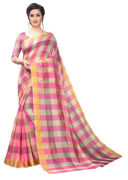 COTTON SAREE with Blouse Piece(Pink)