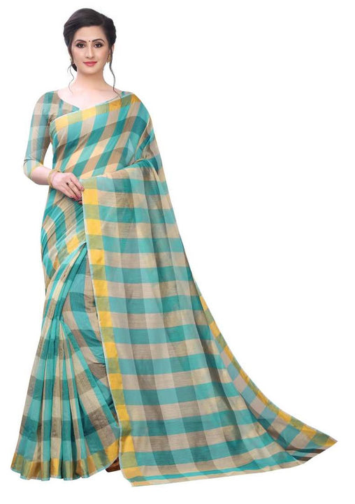 COTTON SAREE with Blouse Piece(Rama)