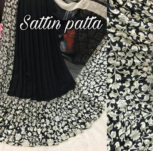 Satin Patta Saree with Blouse Piece (Black)