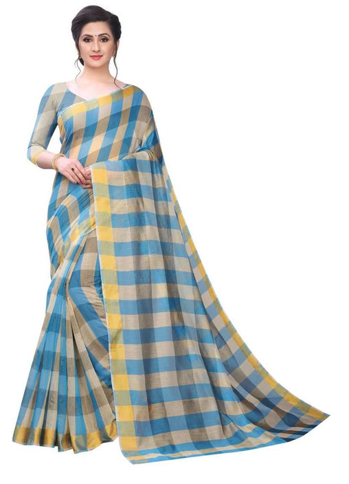 COTTON SAREE with Blouse Piece(SkyBlue)