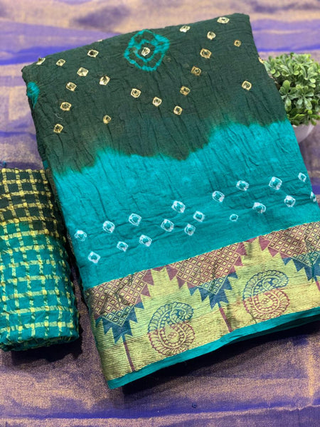 Pure Bandhej SAREE(SkyBlue_Green)