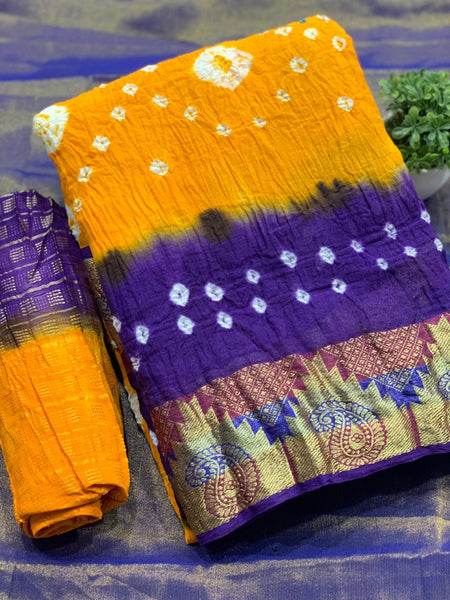Pure Bandhej SAREE(Violet_Yellow)