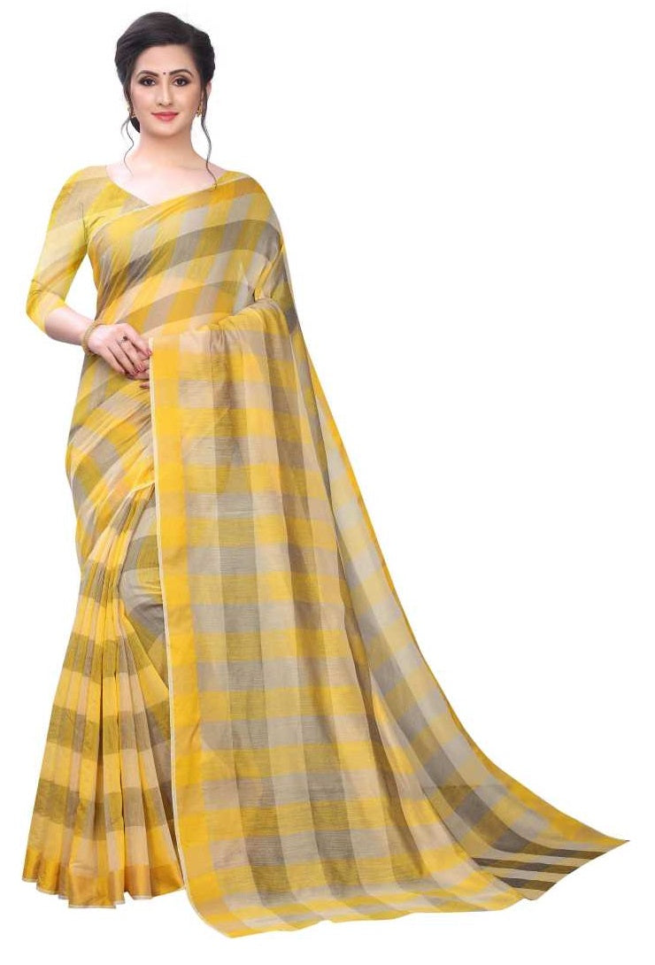 COTTON SAREE with Blouse Piece(Yellow)
