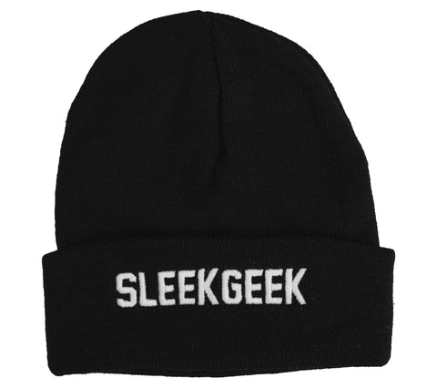 Sleekgeek Black Cuffed Knitted Beanie