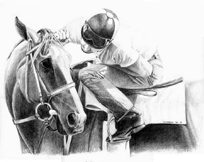 'No Doubts' shows jockey Mike Smith and Prairie Bayou having an intimate discussion regarding the outcome of their next race. This piece has proven to be a favorite.