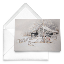 Load image into Gallery viewer, Art Card: Driftwood Barn in Winter - Artist Clare Hobson- Packages of 10, 30 or 50