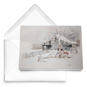 Art Card: Driftwood Barn in Winter - Artist Clare Hobson- Packages of 10, 30 or 50