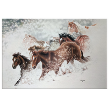 Load image into Gallery viewer, Canvas Art of Horses Galloping through snow | Artist: Clare Hobson