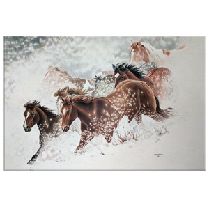 Canvas Art of Horses Galloping through snow | Artist: Clare Hobson