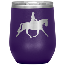 Load image into Gallery viewer, Wine Tumbler - Dressage Extended Trot - Purple