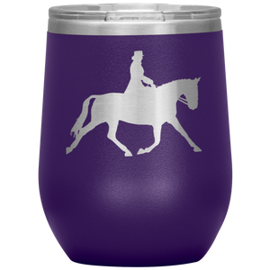 Wine Tumbler - Dressage Extended Trot - Purple
