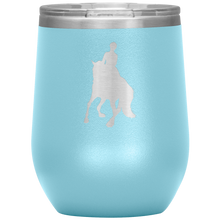 Load image into Gallery viewer, Wine Tumbler - Dressage Canter Pirouette - Light Blue