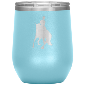 Wine Tumbler - Dressage Canter Pirouette - Light Blue
