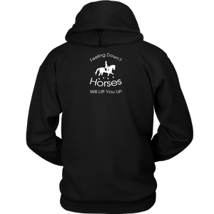 iDressage Hoodie - Horses Lift You Up - Black - Back View