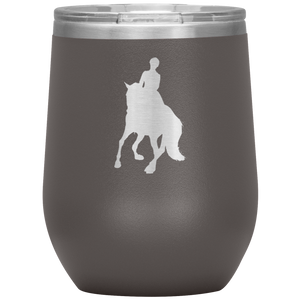 Wine Tumbler - Dressage Canter Pirouette - Pewter