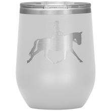 Load image into Gallery viewer, Wine Tumbler - Dressage Extended Trot - White