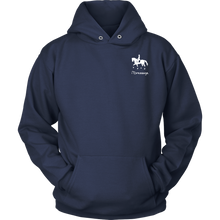Load image into Gallery viewer, iDressage Hoodie - Horses Lift You Up - Front - Navy Blue