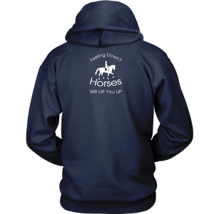 iDressage Hoodie - Horses Lift You Up - Back View - Navy Blue