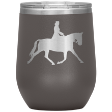 Load image into Gallery viewer, Wine Tumbler - Dressage Extended Trot - Pewter
