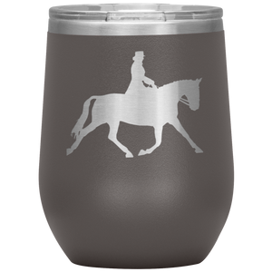 Wine Tumbler - Dressage Extended Trot - Pewter