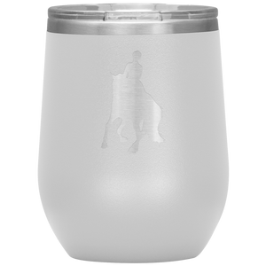 Wine Tumbler - Dressage Canter Pirouette - White