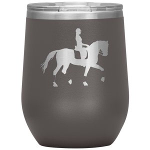 Wine Tumbler - Dressage Collected Trot - Pewter