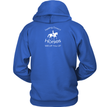 Load image into Gallery viewer, iDressage Hoodie - Horses Lift You Up - Back View - Royal Blue