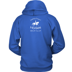 iDressage Hoodie - Horses Lift You Up - Back View - Royal Blue