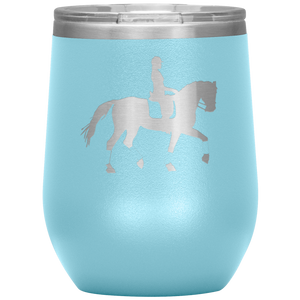 Wine Tumbler - Dressage Collected Trot - Light Blue