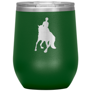 Wine Tumbler - Dressage Canter Pirouette - Green