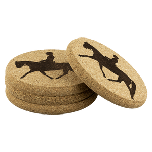 Durable Genuine Cork Coasters: Dressage Working Trot