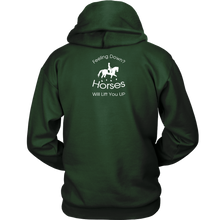 Load image into Gallery viewer, iDressage Hoodie - Horses Lift You Up - Back View - Dark Green