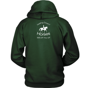 iDressage Hoodie - Horses Lift You Up - Back View - Dark Green
