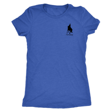 Load image into Gallery viewer, Tee Shirt Womens Triblend: iDressage Horse Graphic - Vintage Royal