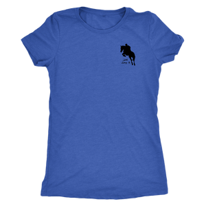 Tee Shirt Womens Triblend: Just Jump It - Vintage Royal Blue