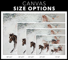Load image into Gallery viewer, Canvas Print: Snow Drift Gallop - size options