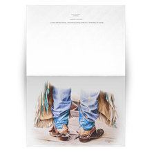 Load image into Gallery viewer, Art Card: Cowboy Boots - Ready to Rodeo Western Art Greeting Cards | Blank Inside