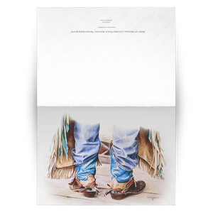 Art Card: Cowboy Boots - Ready to Rodeo Western Art Greeting Cards | Blank Inside
