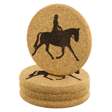Load image into Gallery viewer, Stack of 4 Cork Coasters: Dressage Extended Trot