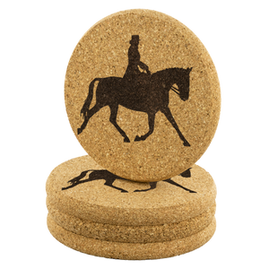 Stack of 4 Cork Coasters: Dressage Extended Trot
