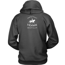 Load image into Gallery viewer, iDressage Hoodie - Horses Lift You Up - Back View - Charcoal