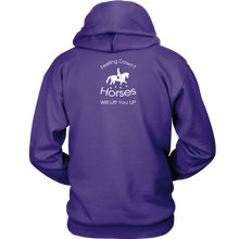 Load image into Gallery viewer, iDressage Hoodie - Horses Lift You Up - Back View - Purple