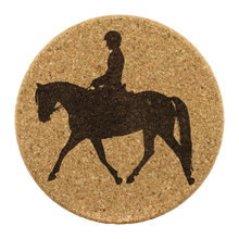 "Load image into Gallery viewer, Cork Coasters: Dressage Working Trot - 3.75"" Diameter x 0.375"" Thick"