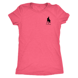 Tee Shirt Womens Triblend: iDressage Horse Graphic - Vintage Light Pink