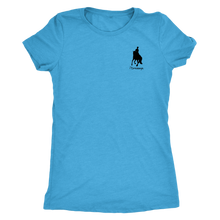 Load image into Gallery viewer, Tee Shirt Womens Triblend: iDressage Horse Graphic - Vintage Turquoise