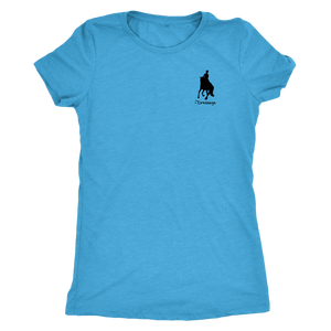 Tee Shirt Womens Triblend: iDressage Horse Graphic - Vintage Turquoise