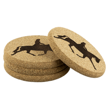 Load image into Gallery viewer, Four per pkg Cork Coasters: Dressage Extended Trot